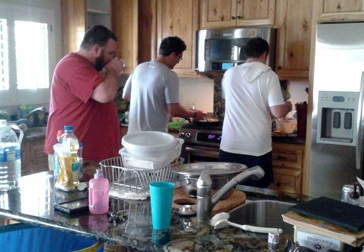 husbands making breakfast.